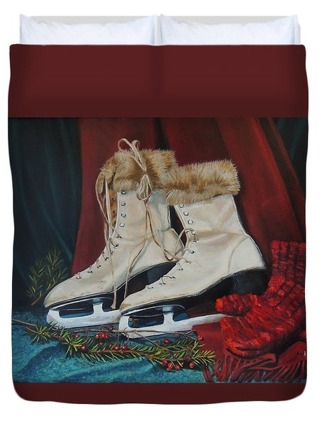Ice Skates And Mittens Duvet Cover by Patty Kay Hall