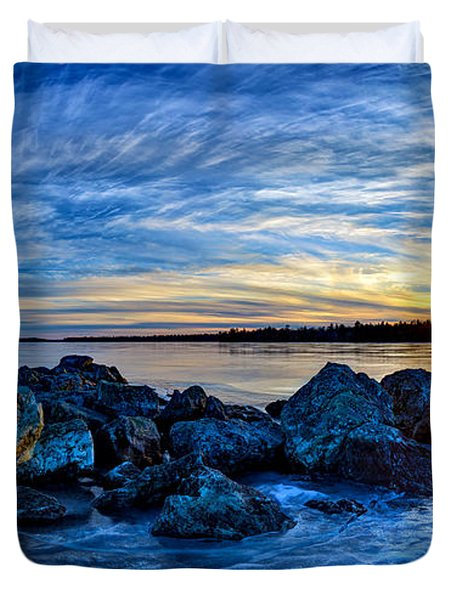 Icebound Sunset Panorama Duvet Cover by Bill Caldwell -        ABeautifulSky Photography