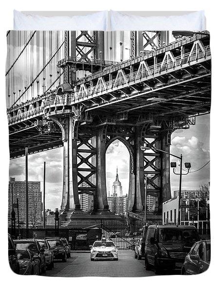 Iconic Manhattan Bw Duvet Cover by Az Jackson