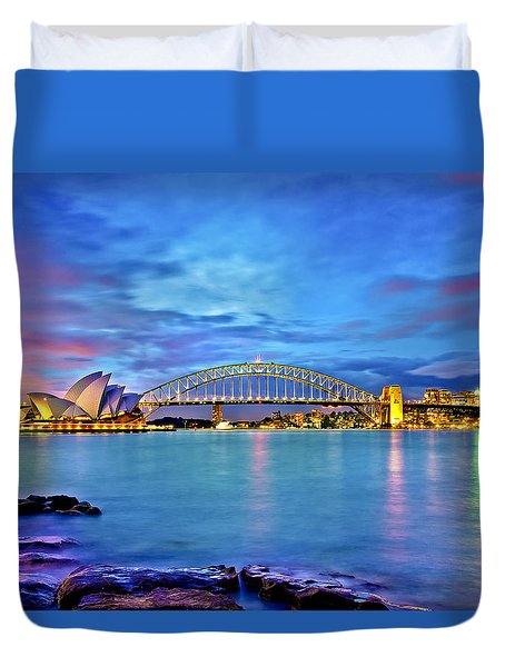 Icons Of Sydney Harbour Duvet Cover by Az Jackson