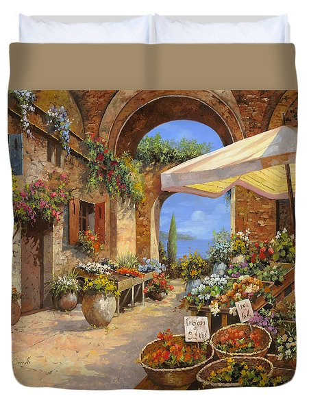 il mercato del lago Duvet Cover by Guido Borelli