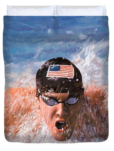 Il Nuotatore Duvet Cover by Guido Borelli