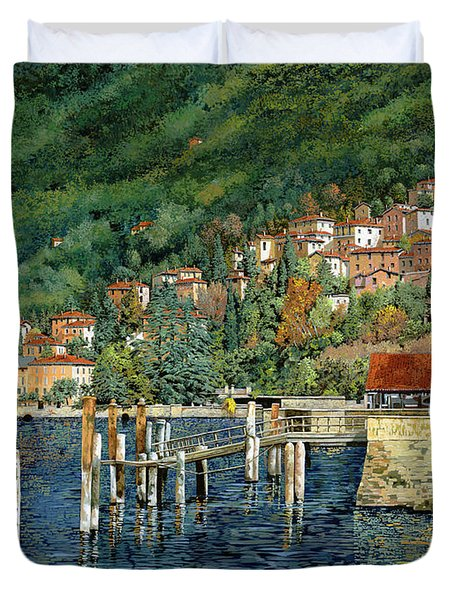 il porto di Bellano Duvet Cover by Guido Borelli