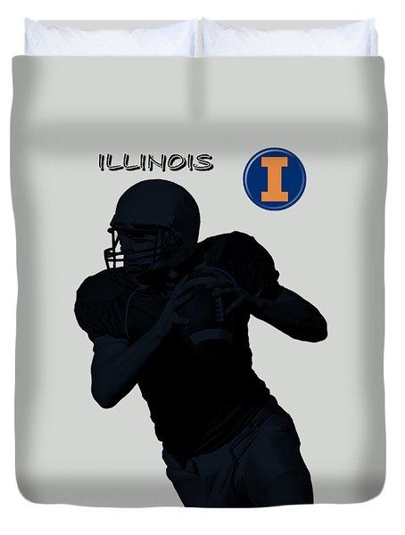 Illinois Football Duvet Cover by David Dehner