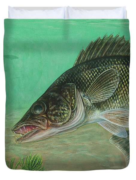 Illustration Of A Walleye Swimming Duvet Cover by Carlyn Iverson