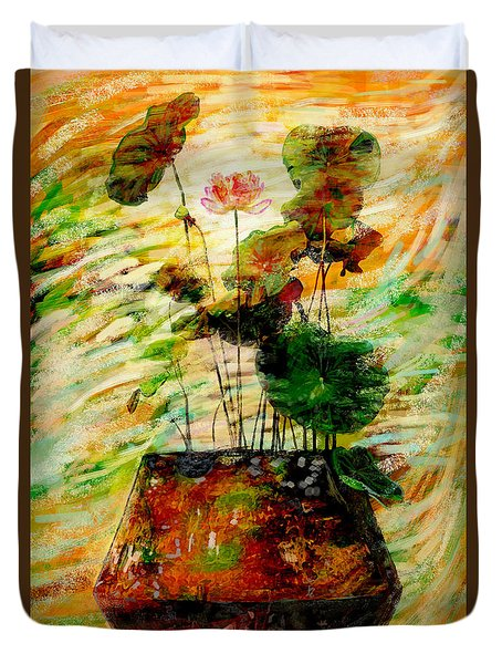 Impression In Lotus Tree Duvet Cover by Atiketta Sangasaeng