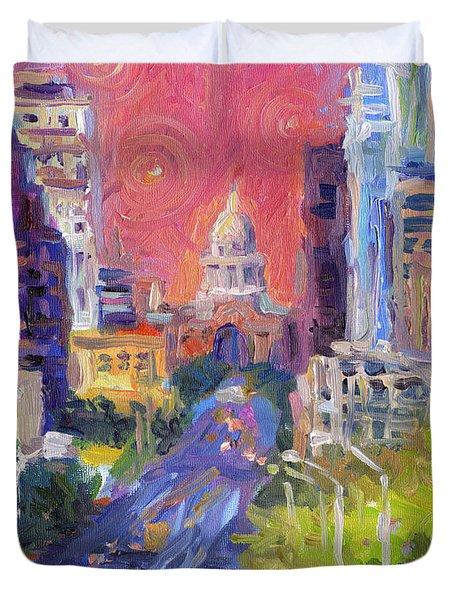 Impressionistic Downtown Austin City Painting Duvet Cover by Svetlana Novikova