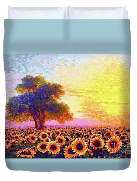 In Awe Of Sunflowers, Sunset Fields Duvet Cover by Jane Small