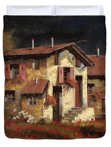 in campagna la sera Duvet Cover by Guido Borelli