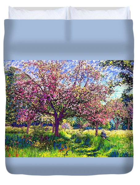 In Love With Spring, Blossom Trees Duvet Cover by Jane Small