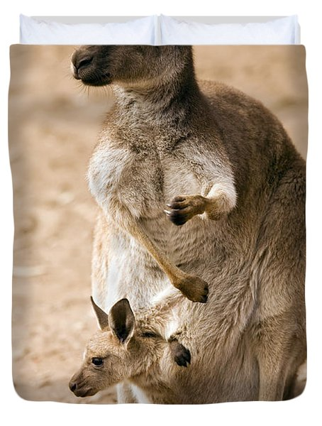 In  Mother's Care Duvet Cover by Mike  Dawson