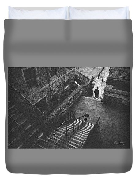 In Pursuit Of The Devil On The Stairs Duvet Cover by Joseph Westrupp
