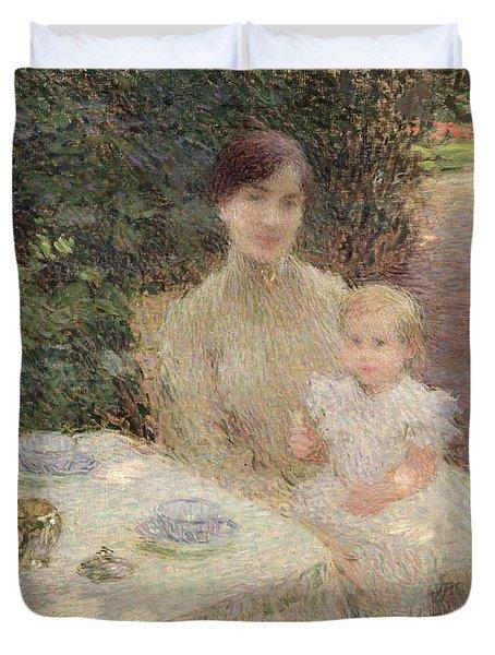 In The Garden Duvet Cover by Ernest Joseph Laurent