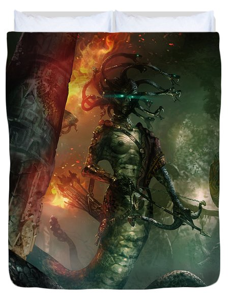In The Lair Of The Gorgon Duvet Cover by Ryan Barger