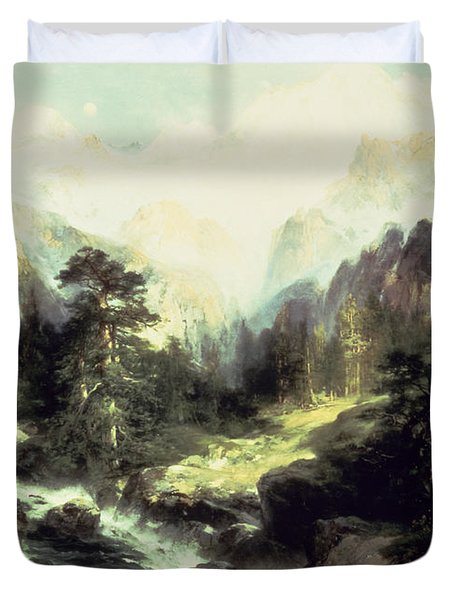 In The Teton Range Duvet Cover by Thomas Moran