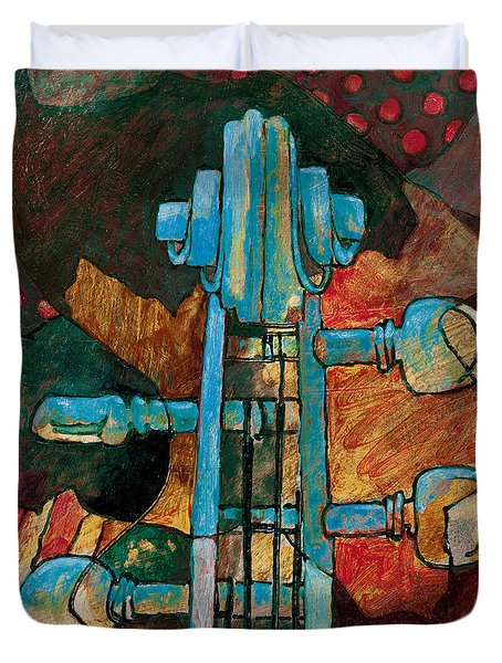 In Tune - String Instrument Scroll In Blue Duvet Cover by Susanne Clark