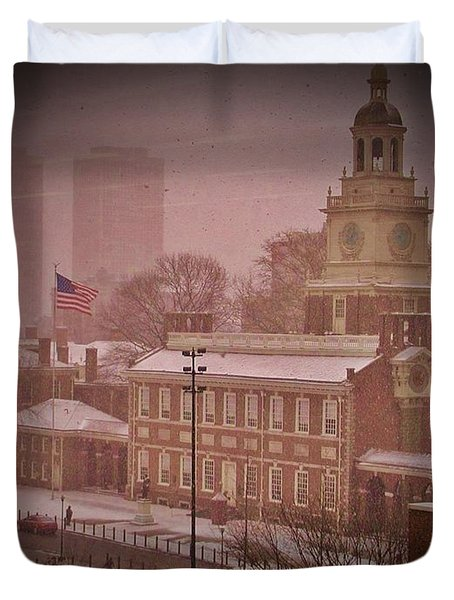 Independence Hall in the Snow Duvet Cover by Bill Cannon