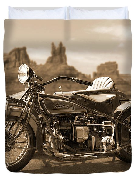 Indian 4 Sidecar Duvet Cover by Mike McGlothlen