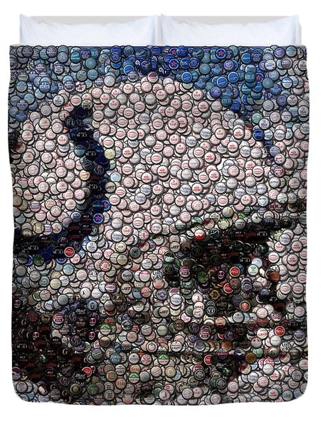 Indianapolis Colts Bottle Cap Mosaic Duvet Cover by Paul Van Scott