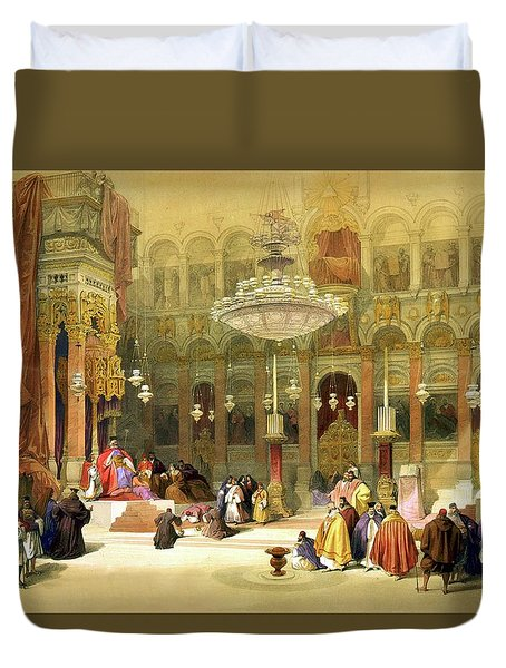 Inside The Church Of The Holy Sepulchre Duvet Cover by Munir Alawi