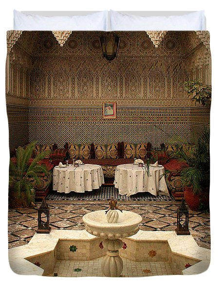 Interior Of A Traditional Riad In Fez Duvet Cover by Ralph A  Ledergerber-Photography