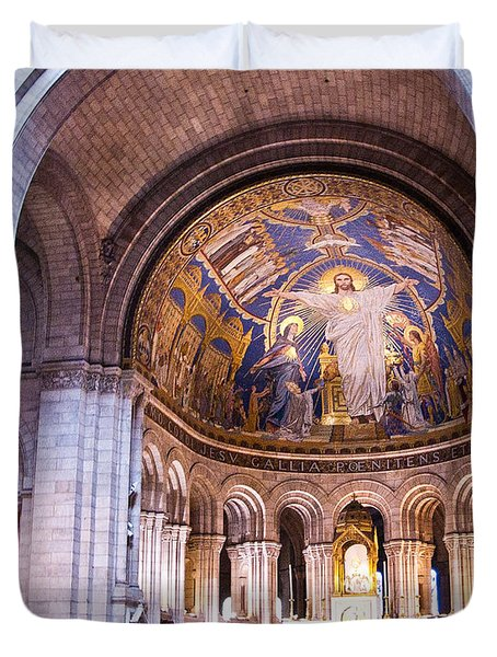 Interior Sacre Coeur Basilica Paris France Duvet Cover by Jon Berghoff