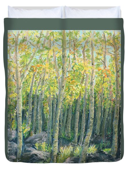 Into The Aspens Duvet Cover by Mary Benke