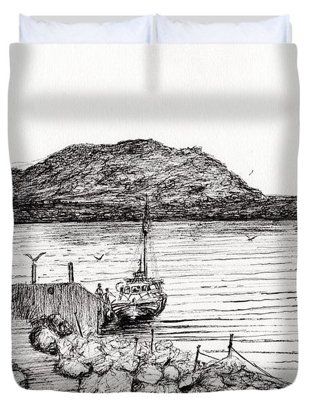 Iona From Mull Duvet Cover by Vincent Alexander Booth