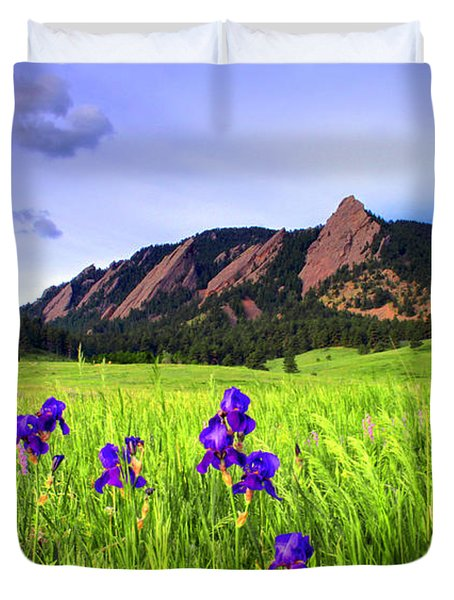 Iris and Flatirons Duvet Cover by Scott Mahon