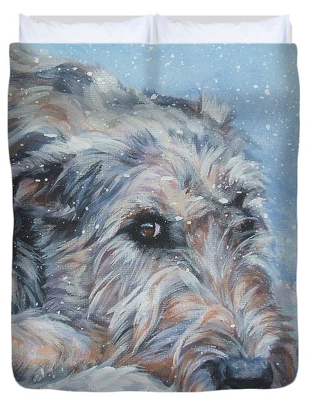 Irish Wolfhound Resting Duvet Cover by Lee Ann Shepard