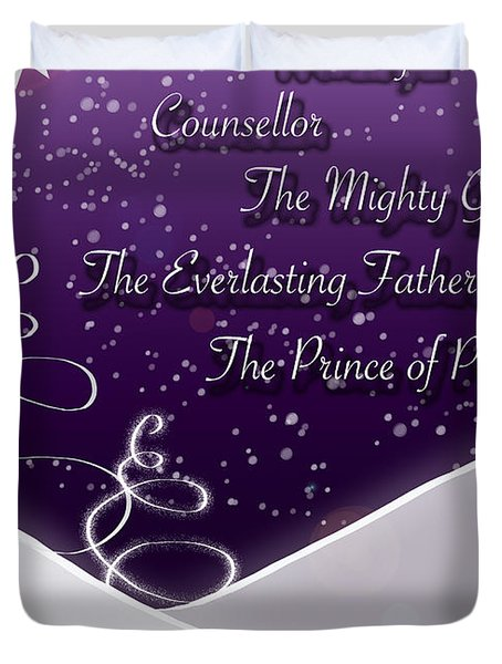 Isaiah Chapter 9 Verse 6 Christmas Card Duvet Cover by Lisa Knechtel