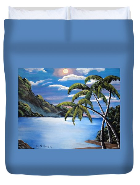 Island Night Glow Duvet Cover by Luis F Rodriguez
