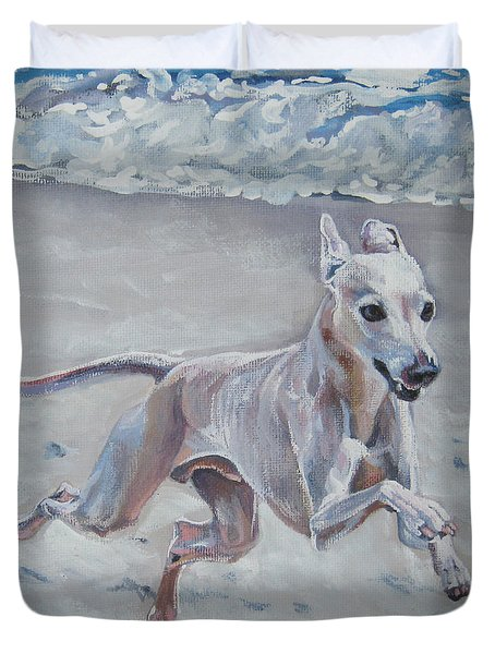 Italian Greyhound on the Beach Duvet Cover by Lee Ann Shepard