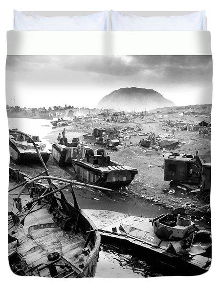 Iwo Jima Beach Duvet Cover by War Is Hell Store