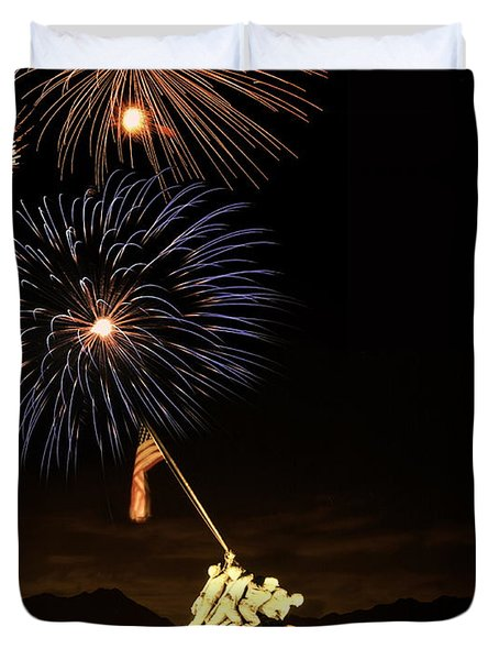 Iwo Jima Flag Raising Duvet Cover by Michael Peychich