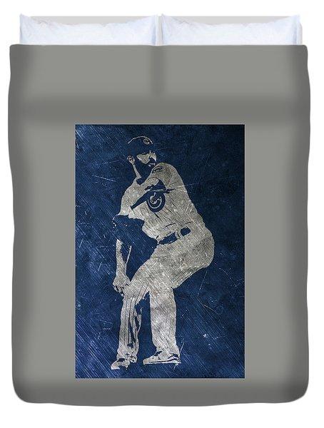 Jake Arrieta Chicago Cubs Art Duvet Cover by Joe Hamilton