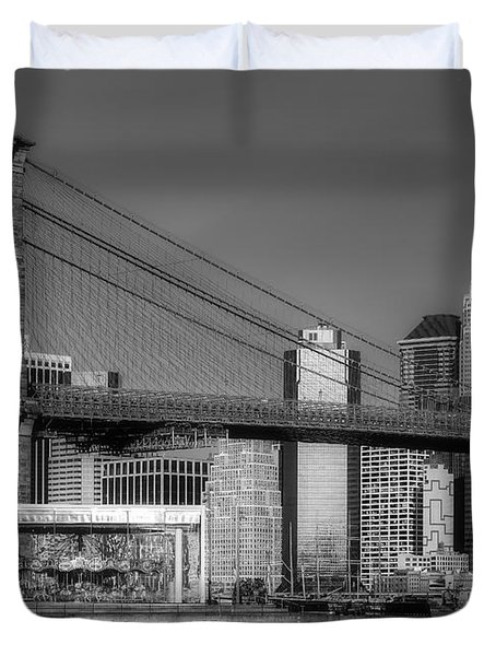 Jane's Carousel Brooklyn Bridge Nyc Bw Duvet Cover by Susan Candelario