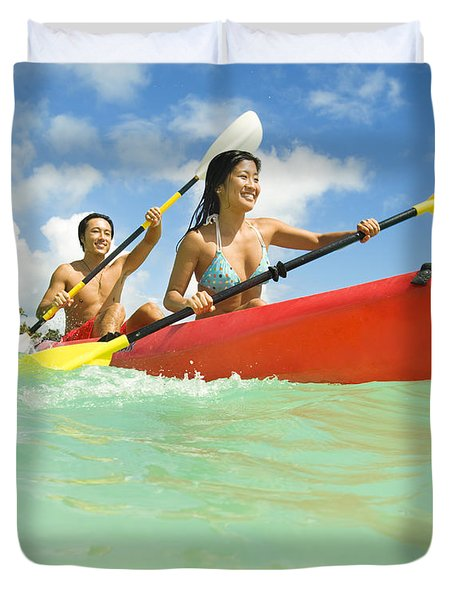Japanese Couple Kayaking Duvet Cover by Dana Edmunds - Printscapes
