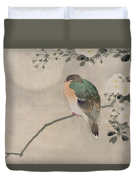 Japanese Silk Painting Of A Wood Pigeon Duvet Cover by Japanese School