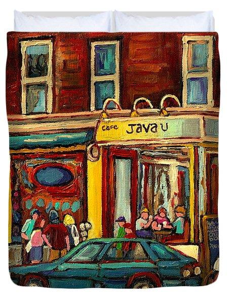 Java U Coffee Shop Montreal Painting By Streetscene Specialist Artist Carole Spandau Duvet Cover by Carole Spandau