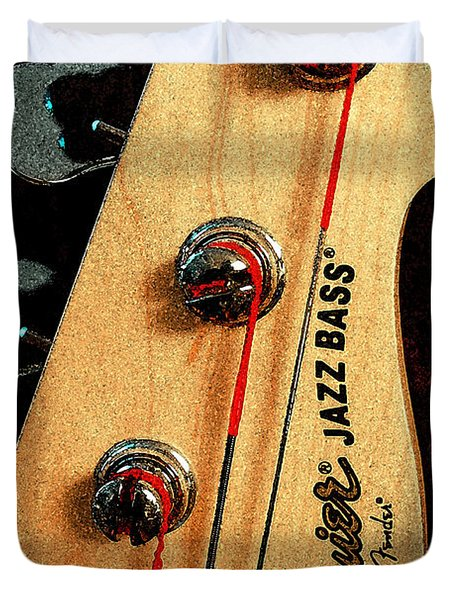 Jazz Bass Headstock Duvet Cover by Todd A Blanchard
