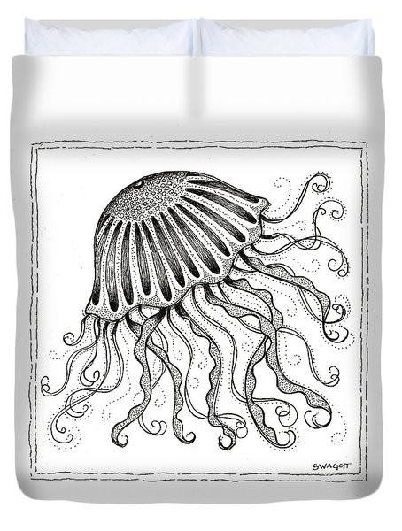 Jelly Fish Duvet Cover by Stephanie Troxell