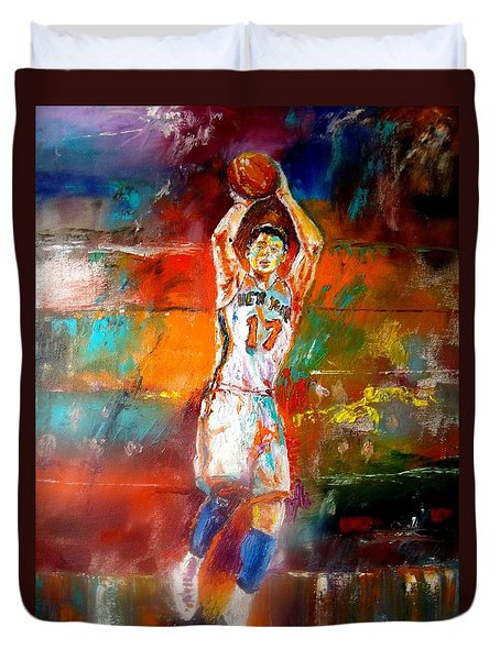 Jeremy Lin New York Knicks Duvet Cover by Leland Castro