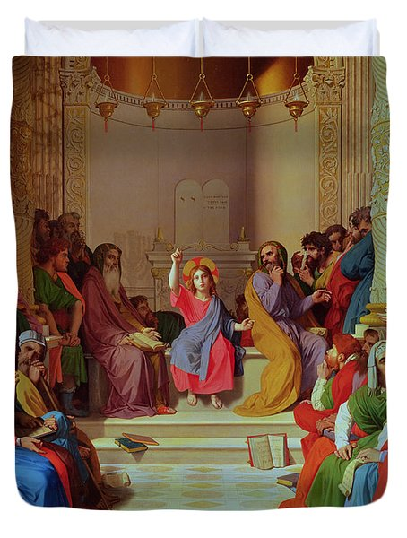 Jesus Among The Doctors Duvet Cover by Ingres