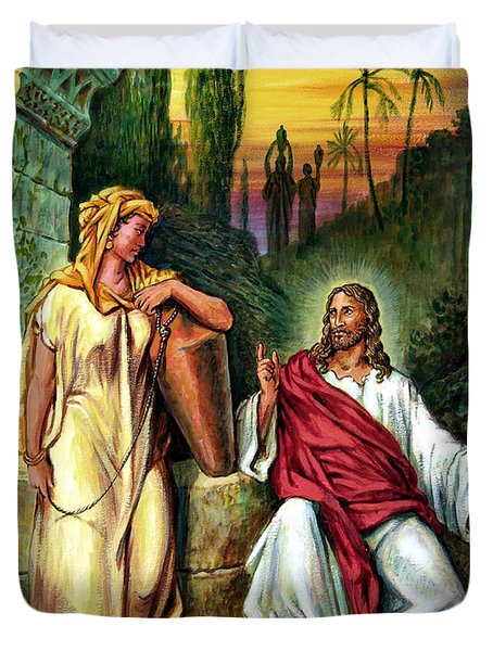 Jesus and the Woman at the Well Duvet Cover by John Lautermilch