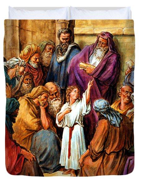 Jesus as a Child Duvet Cover by John Lautermilch