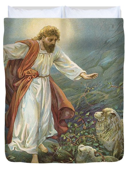 Jesus Christ The Tender Shepherd Duvet Cover by Ambrose Dudley