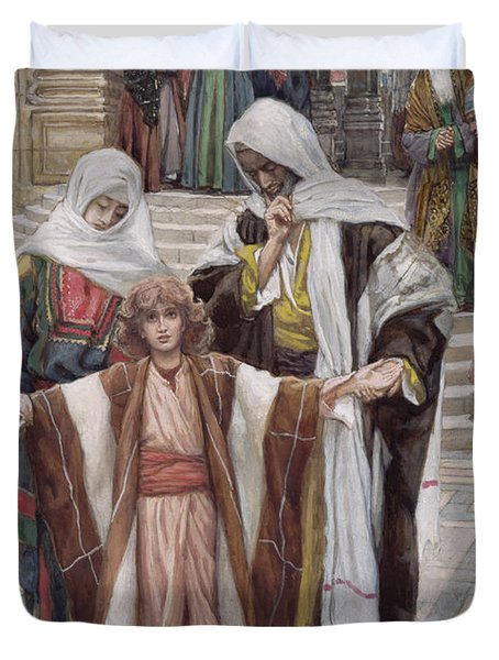 Jesus Found In The Temple Duvet Cover by Tissot