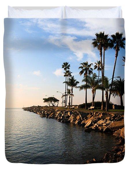 Jetty on Balboa Peninsula Newport Beach California Duvet Cover by Paul Velgos