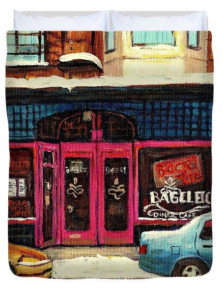 Jewish Montreal By Streetscene Artist Carole Spandau Duvet Cover by Carole Spandau